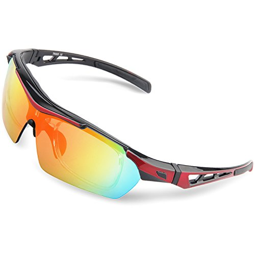 2ffbcaab77cf4 Torege Polarized Sports Sunglasses For Cycling Running Fishing Golf TR90  Unbreakable Frame TR003 Black Red. The other 5 lenses are colored sunglasses  for ...