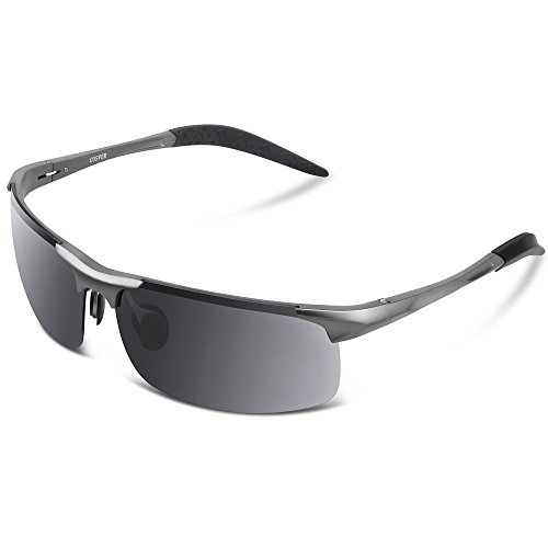 9ce5f7f78a7 COSVER Men s Sports Style Polarized Sunglasses for Men Driving Cycling  Running Fishing Golf Unbreakable Frame Metal Driver Glasses Gray