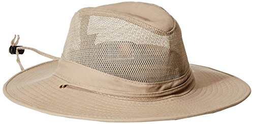 7ed17c4d Upf 50+ protection with coolmax sweatband. Men's dorfman pacific solar  weave mesh safari hat Mesh-paneled hat featuring wide channel-stitched brim  and chin ...