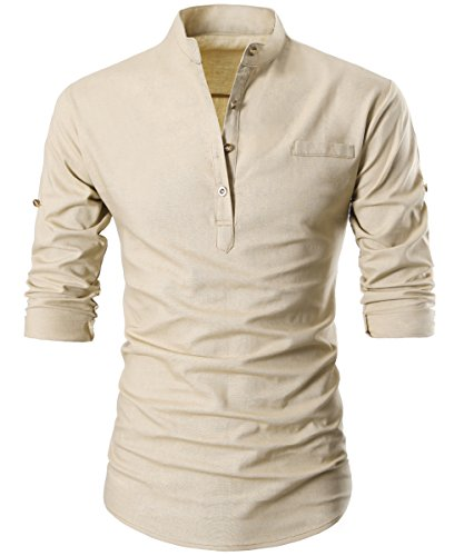 Mens Casual Slim Fit Henley Neck Short Sleeve Daily Look Linen Shirts Button Slim Top