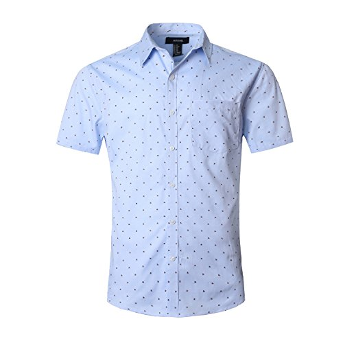 Freely Mens Plus Size Short Sleeve Printing Holiday Turn Down Collar Collared Dress Shirts