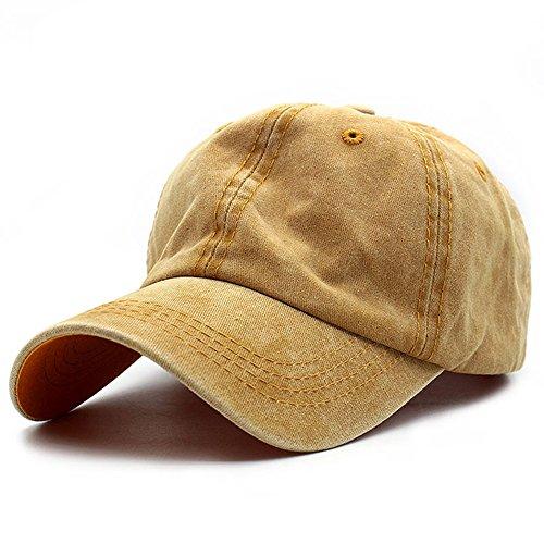 95d4ed82f1c HH HOFNEN Unisex Twill Cotton Baseball Cap Vintage Adjustable Dad Hat Yellow
