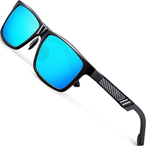 733eb345db ATTCL Men s Hot Retro Driving Polarized Wayfarer Sunglasses Al-Mg Metal  Frame Ultra Light Black Blue