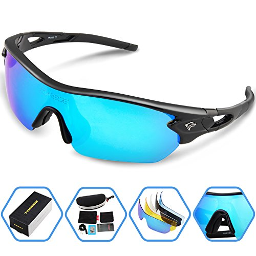 7f9fbd46854 Torege Polarized Sports Sunglasses With 5 Interchangeable Lenes for Men  Women Cycling Running Driving Fishing Golf Baseball Glasses TR002