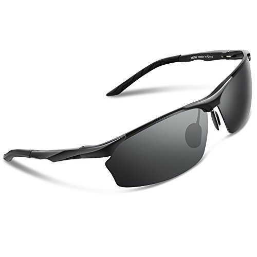 ee2a6fa54f Torege Men s Sports Style Polarized Sunglasses For Cycling Running Fishing  Driving Golf Unbreakable Al-Mg Metal Frame Glasses M292 Black Grey lens