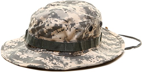 ACU Digital Camouflage Military Wide Brim Jungle Bucket Fishing Camping  Boonie Hat with Chin Strap 8159d6a6e23