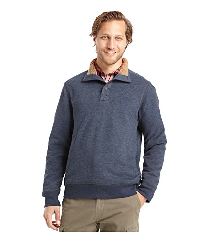 G.H Bass /& Co Sueded Faux Sherpa-Lined Mock-Neck Fleece Sweater