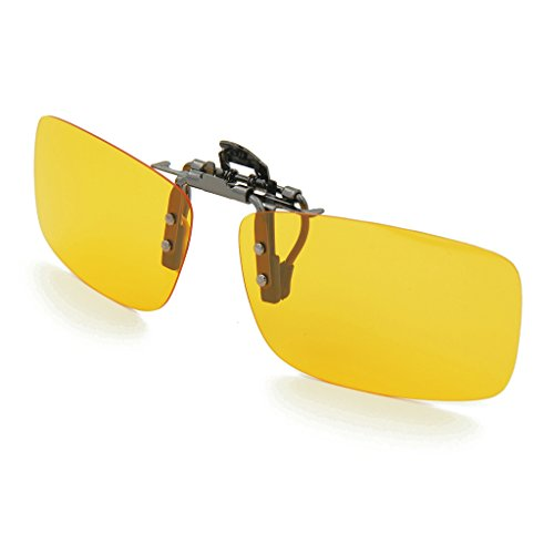 c46244a7057 Besgoods Yellow Night Vision Polarized Clip-on Flip up Metal Clip Sunglasses  Driving
