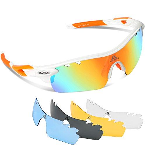 0439d5022ee9 HODGSON Polarized Sports Sunglasses with 5 Interchangeable Lenses for Men  Women Cycling Baseball Running Glasses
