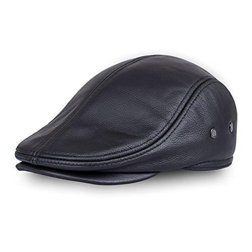 d11ec653e0def7 TangTown Lambskin Leather Unisex Flat Cap Newsboy Driving Cabbie Ivy Flat  Cap XL
