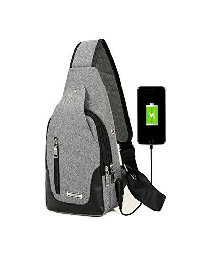 Mens Sling Backpack Leather Crossbody Bag Multipurpose Daypack Water Resistant Shoulder Chest Bag with Charging Port