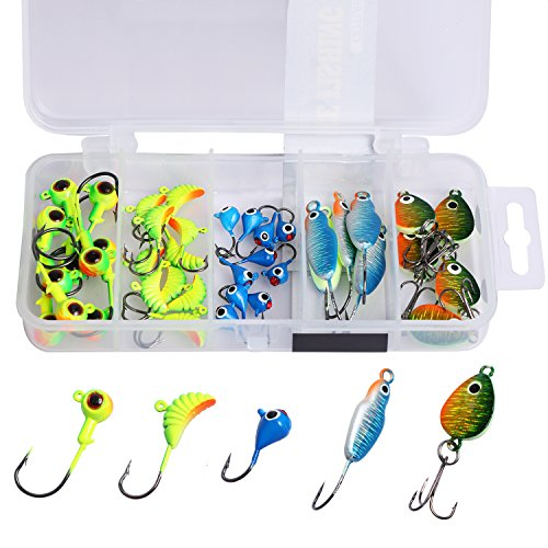 Celsius Ice Jig and Jig Box Combo Pack 20 Glitter Ice Jigs and Case.