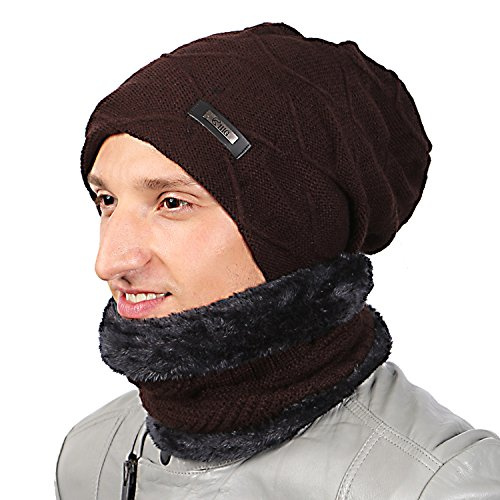 HIG Men s Winter Warm Beanie Hat Scarf Set Thickened Knitted Hats Lined  Fleece Brown a5ba078467f9