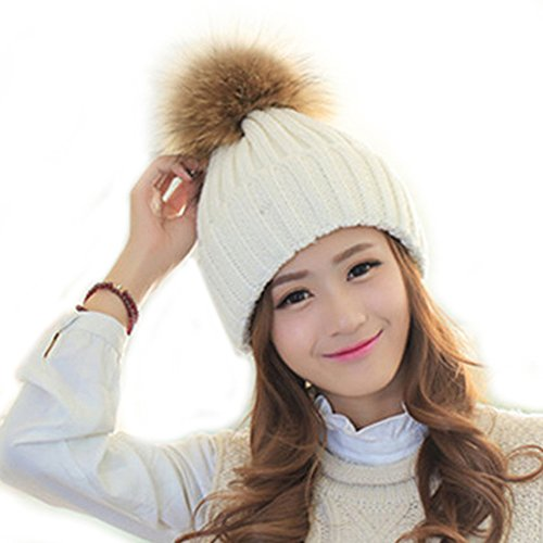 ee42949615c678 FURTALK Winter Knit Hat Real Raccoon Fur Pom Pom Womens Girls Knit Beanie  Hat