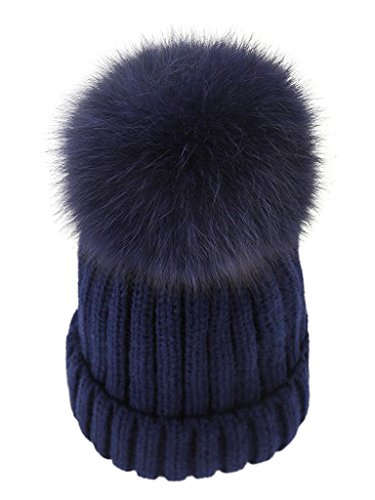 1c80e64a353fdd Roniky Winter Knit Hat Real Fox Fur Pom Pom Womens Girls Knit Beanie ...