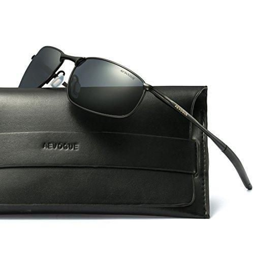 e72d699cb1e AEVOGUE Polarized Sunglasses For Men Rectangle Metal Frame Retro Sun Glasses  AE0535 Black