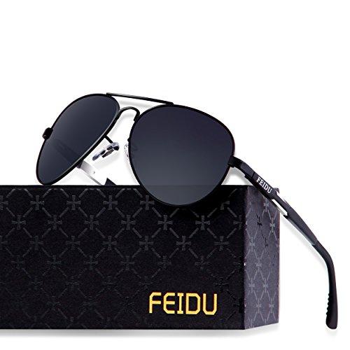 dc242951026 FEIDU Mens Polarized Aviator Sunglasses Metal Frame Unisex Sun Glasses  FD9001 Black Black