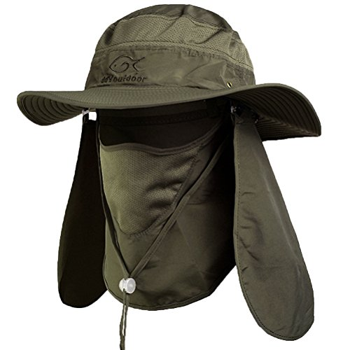cb5e9ab3484 Ddyoutdoor 07-281 Fashion Summer Outdoor Sun Protection Fishing Cap Neck  Face Flap Hat Wide Brim army green
