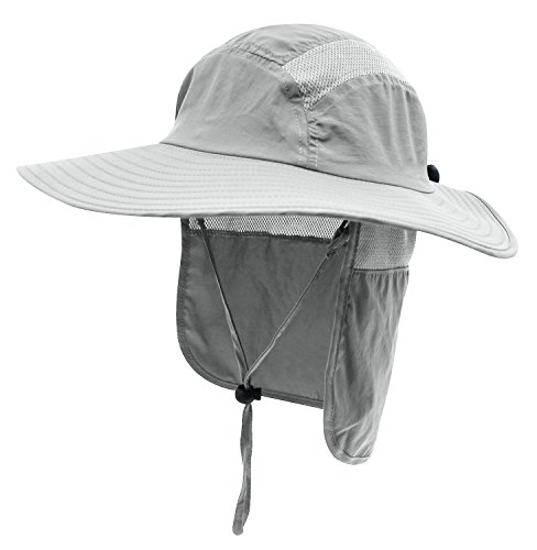 209ae626c6c Home Prefer Mens UPF 50+ Sun Protection Cap Wide Brim Fishing Hat with Neck  Flap Light Gray