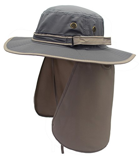 82846da3 Home Prefer Unisex Quick Drying UV Protection Outdoor Sun Hat with Flap Neck  Cover Foldable Fishing Cap Gray Brim