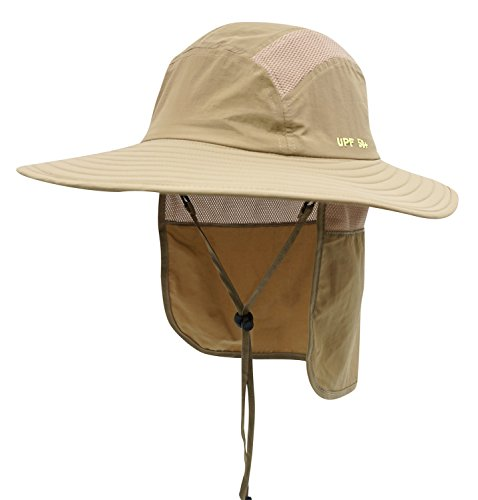 16b42d764264a Home Prefer Adult UPF 50+ Sun Protection Cap Wide Brim Fishing Hat with Neck  Flap Khaki