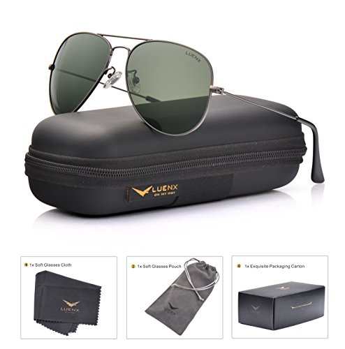 308d99d40b LUENX Men Women Aviator Sunglasses Grey Green Polarized Lens Gun Metal Frame  Non-Mirror 60MM with Accessories Classic style