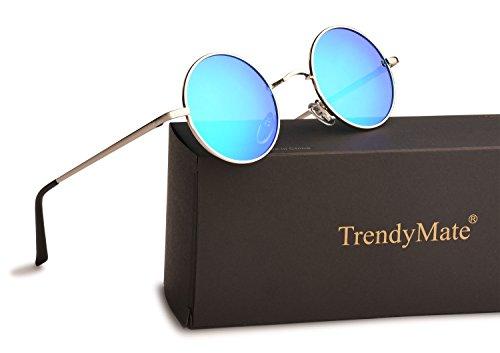 9ed5783f17 TrendyMate John Lennon Retro Round Polarized Hippie Sunglasses Small Circle  Steampunk Sun Glasses Silver Frame Blue Lens