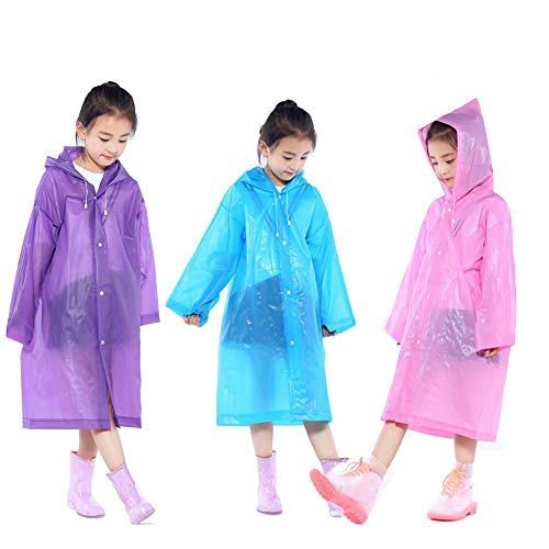 4x Kids Waterproof Hooded Rain Poncho Mac Coat for Theme Parks Hiking Fishing